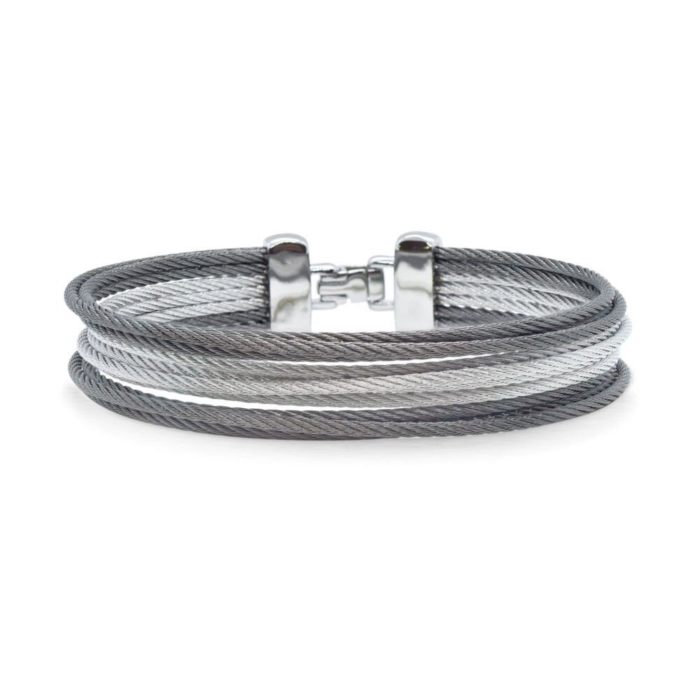 Image 2 for Classique Multi-Strand Stacked Alternating Cable Bangle