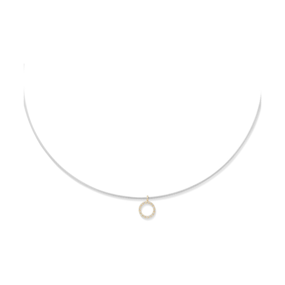 Diamond Halo Charm Cable Necklace