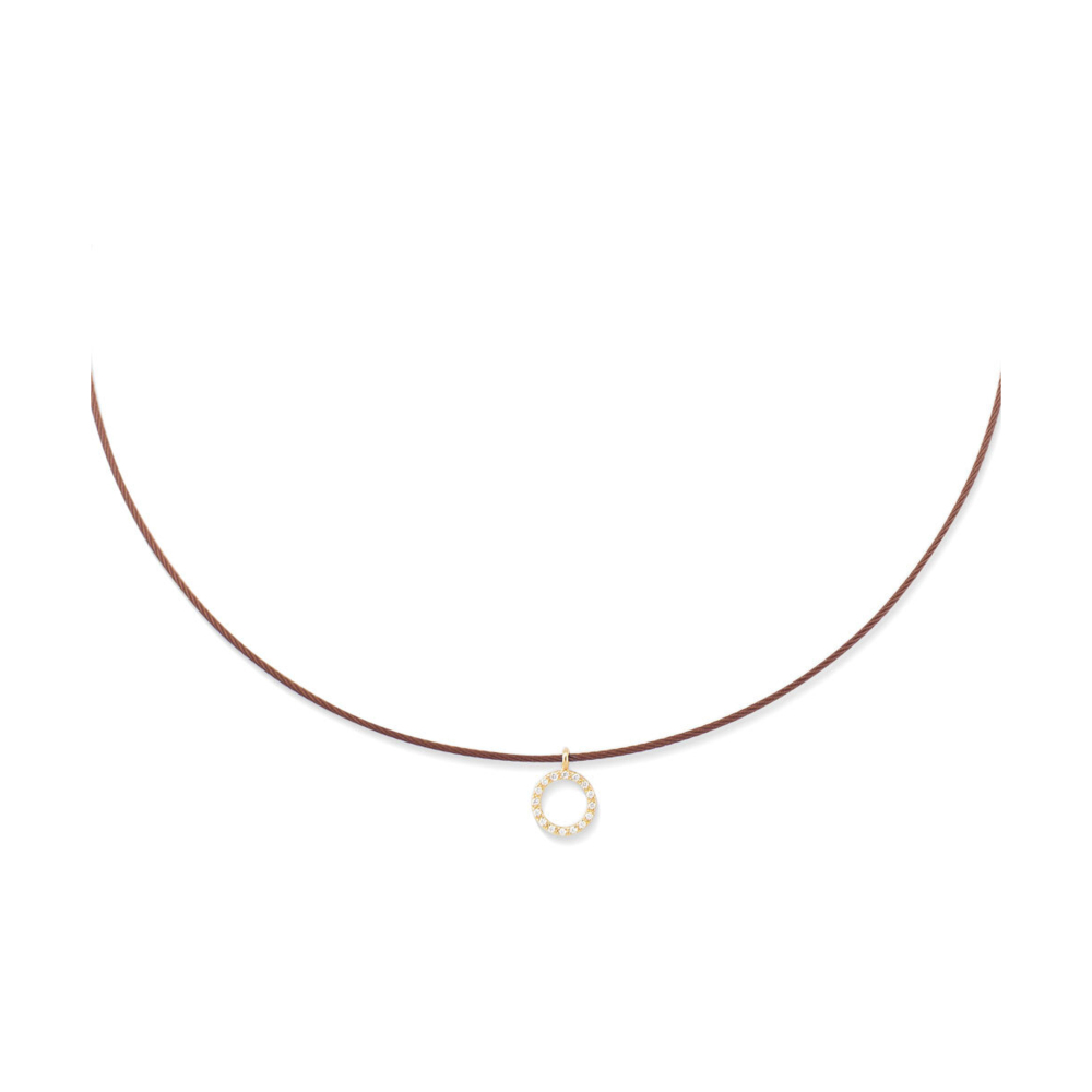 Image 2 for Diamond Halo Charm Cable Necklace