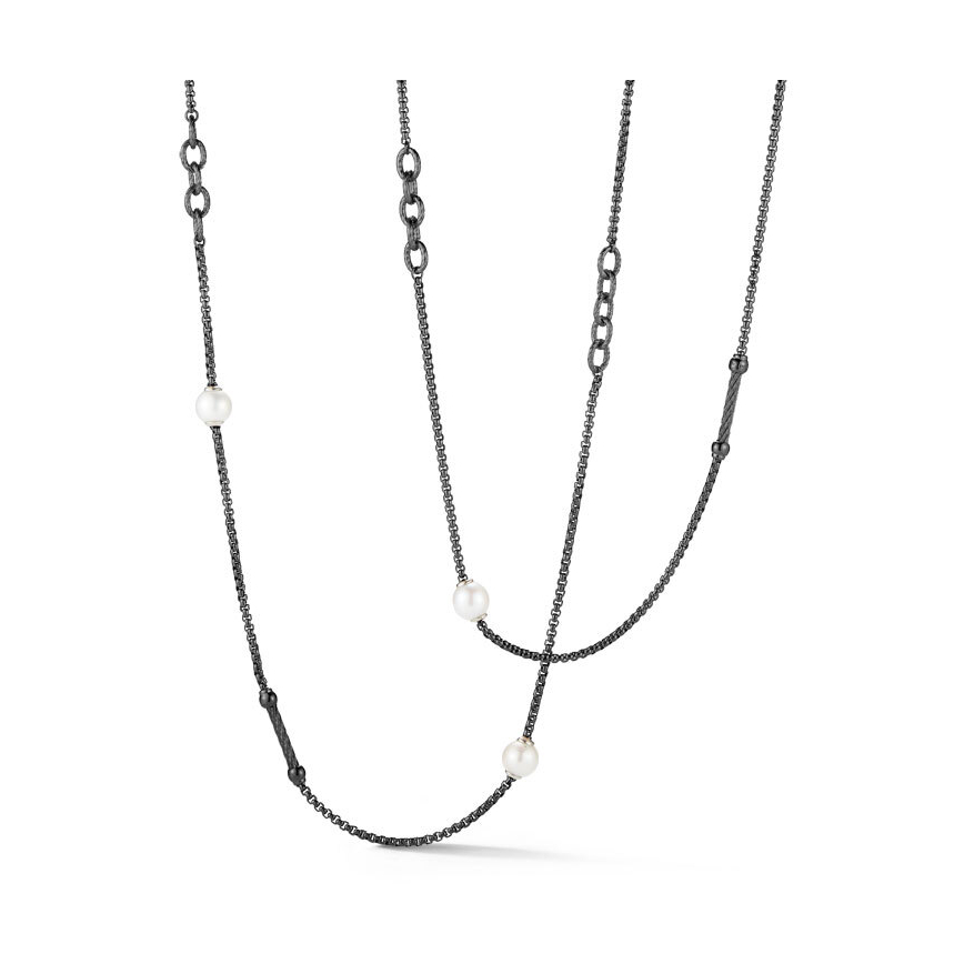 Image 2 for Chain Reaction Steel Necklace with Pearls