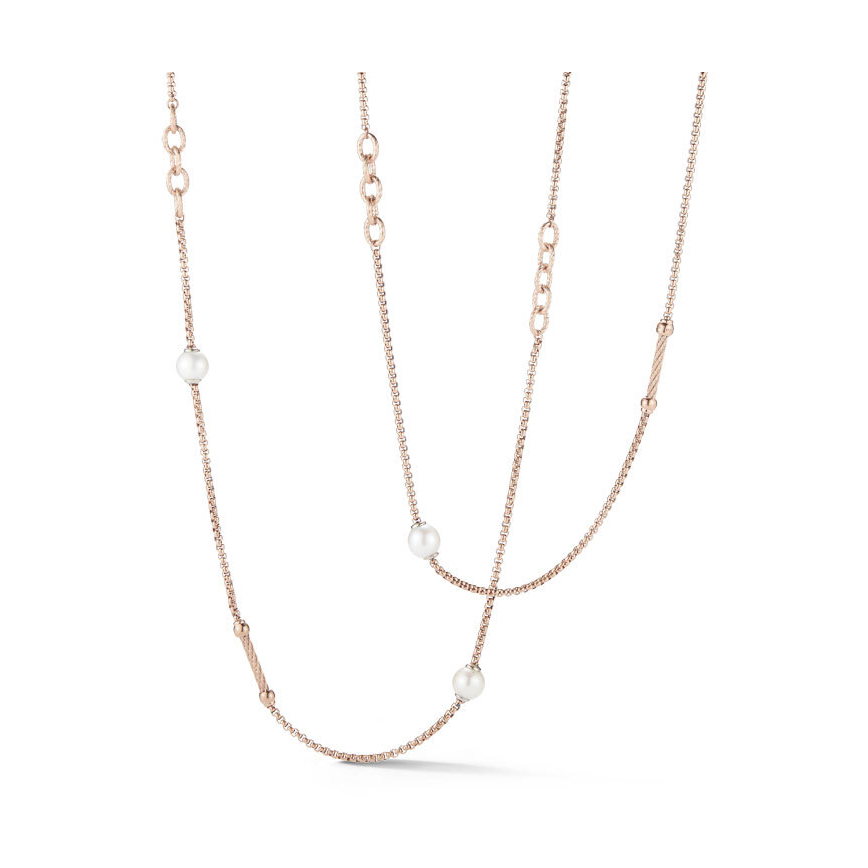Chain Reaction Steel Necklace with Pearls