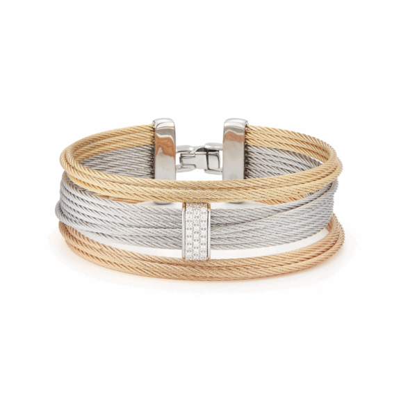 Closeup photo of Three Tone Multi-Strand Cable Bangle