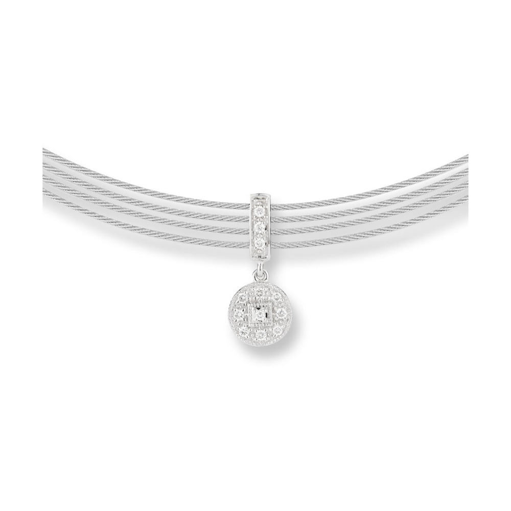 Image 2 for Cable Round Drop Choker Necklace with 18kt White Gold & Diamonds