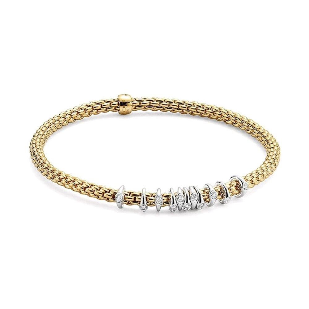 Prima Dew Drop Floating Diamond Rondel Station Bracelet