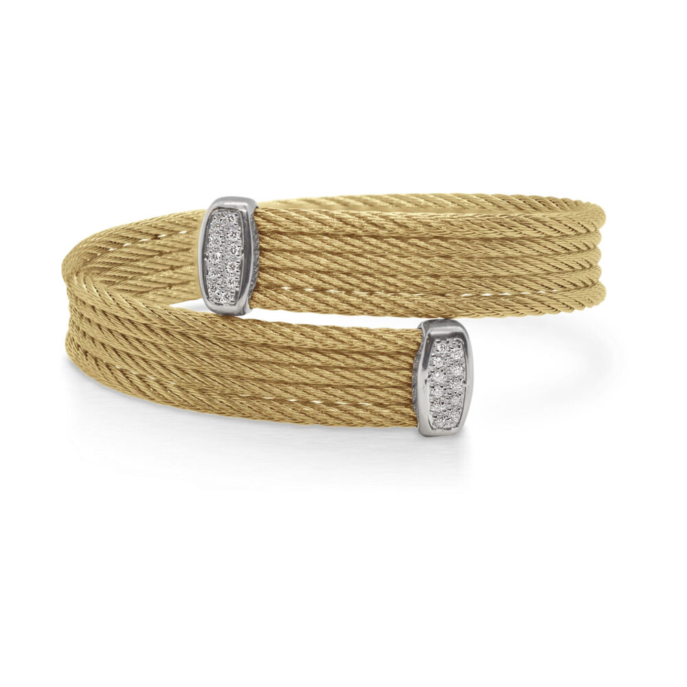 Image 2 for Cable Bypass Bracelet with 18k White Gold & Diamonds