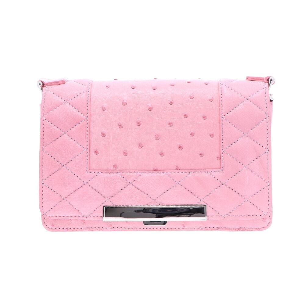 Pink Ostrich Chain Bag