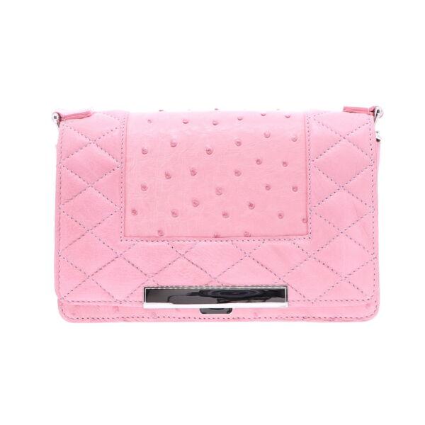 Closeup photo of Pink Ostrich Chain Bag
