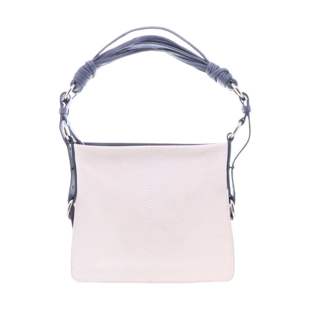 White Stingray Shoulder Bag with Navy Ostrich Trim