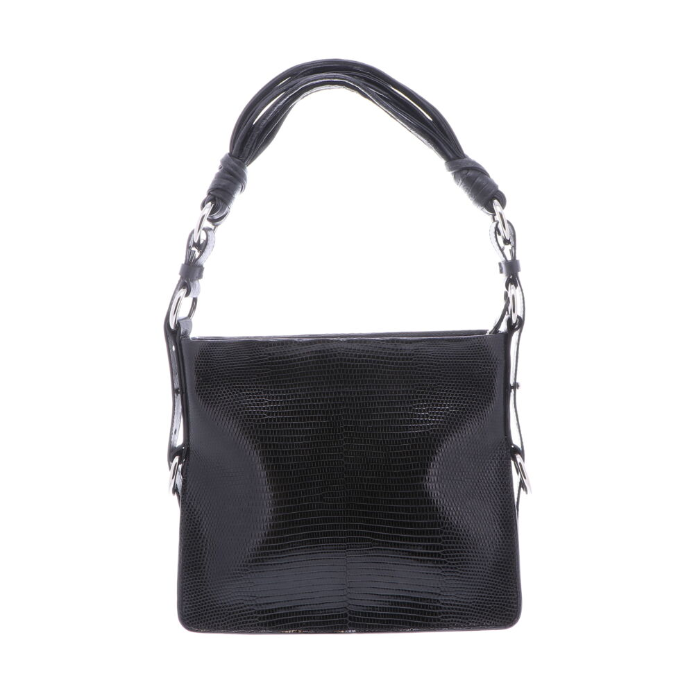 Black Lizard Shoulder Bag with Black Ostrich Trim