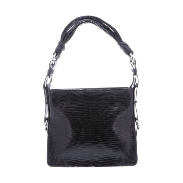 Closeup photo of Black Lizard Shoulder Bag with Black Ostrich Trim