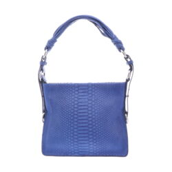Closeup photo of Royal Blue Python Shoulder Bag With Royal Blue Ostrich Trim