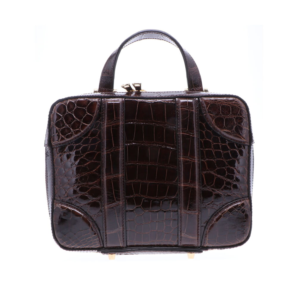 Brown Alligator Luggage Bag
