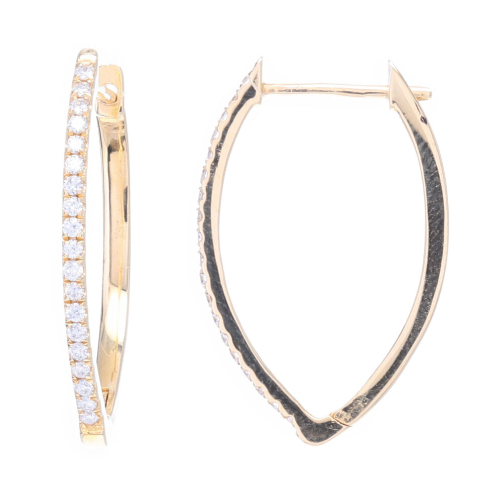 14k SM DIA Marquise Hoops