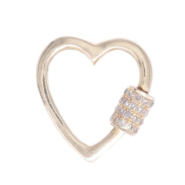 Closeup photo of 14k Yellow Gold Diamond Heart Lock Pendant Charm