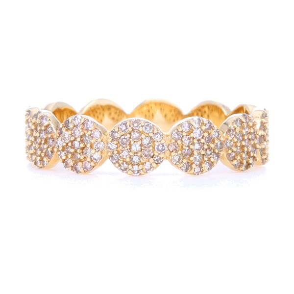 Closeup photo of 14k Gold Circle Eternity Band with Pave Diamonds 1/2 way