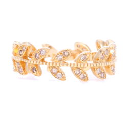 Closeup photo of 14k Gold Vine Eternity Band/Stack Ring
