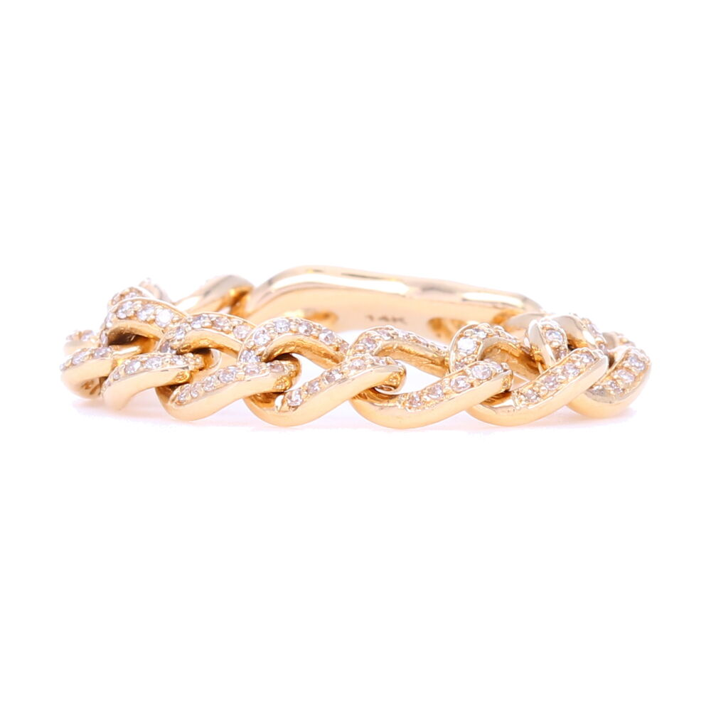 14k Gold Flexible Pave Curb Link Stack Ring