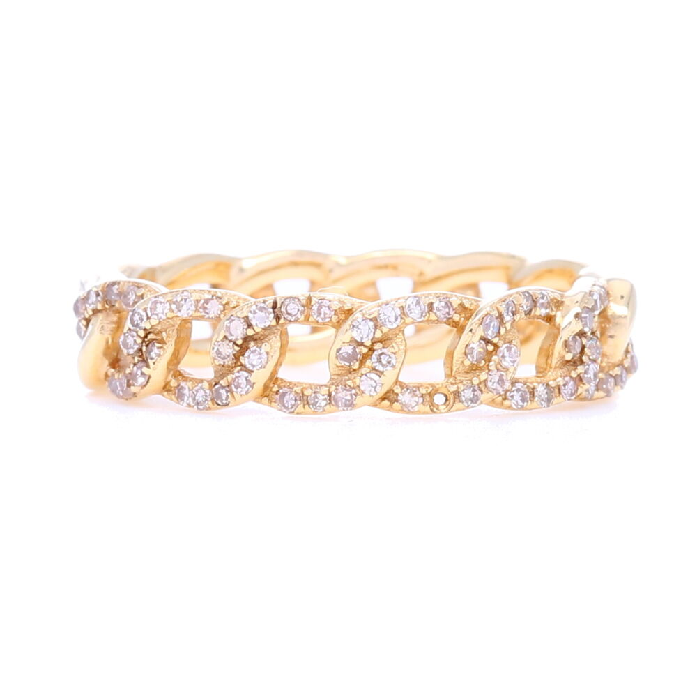 14k Gold Pave Diamond Fixed Curb Link Ring