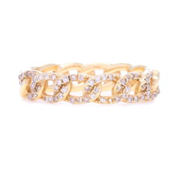 Closeup photo of 14k Gold Pave Diamond Fixed Curb Link Ring