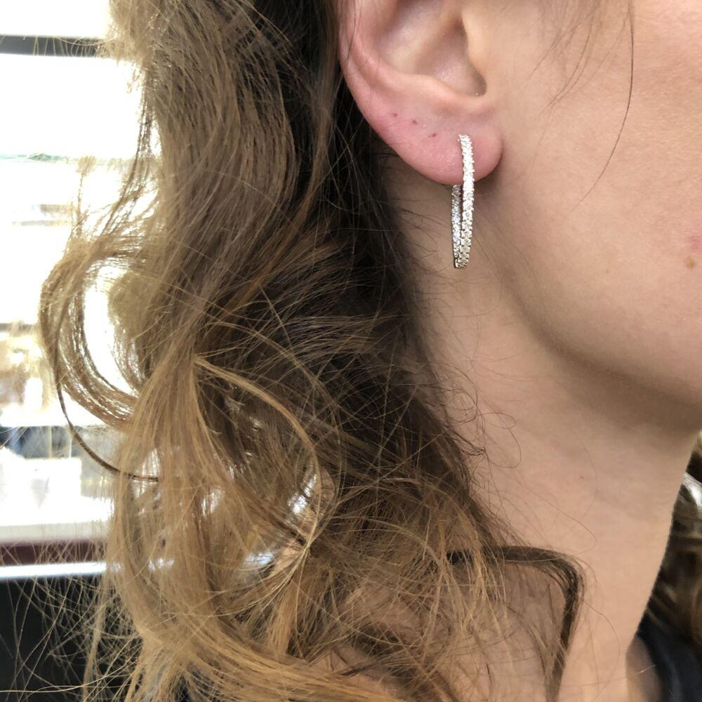 Image 2 for 18k White Gold Diamond Hoop Earrings