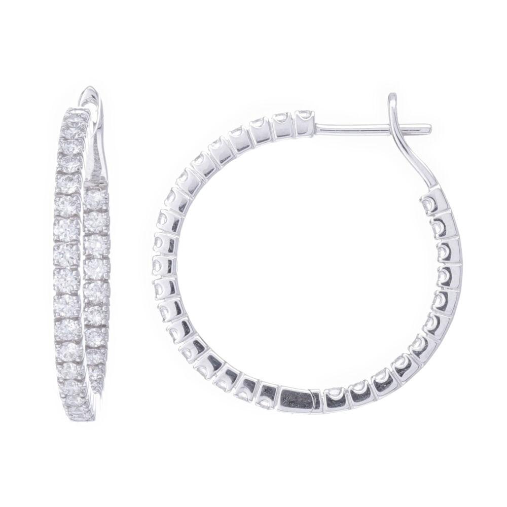 18k White Gold Prong Set Diamond Inside Outside Hoop Earrings