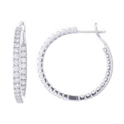 Closeup photo of 18k White Gold Prong Set Diamond Inside Outside Hoop Earrings