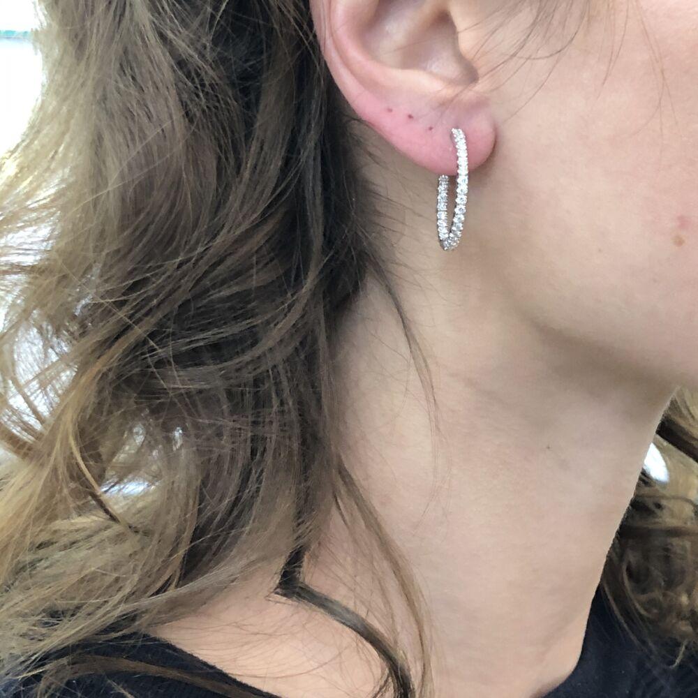 Image 2 for 18k White Gold Prong Set Diamond Inside Outside Hoop Earrings