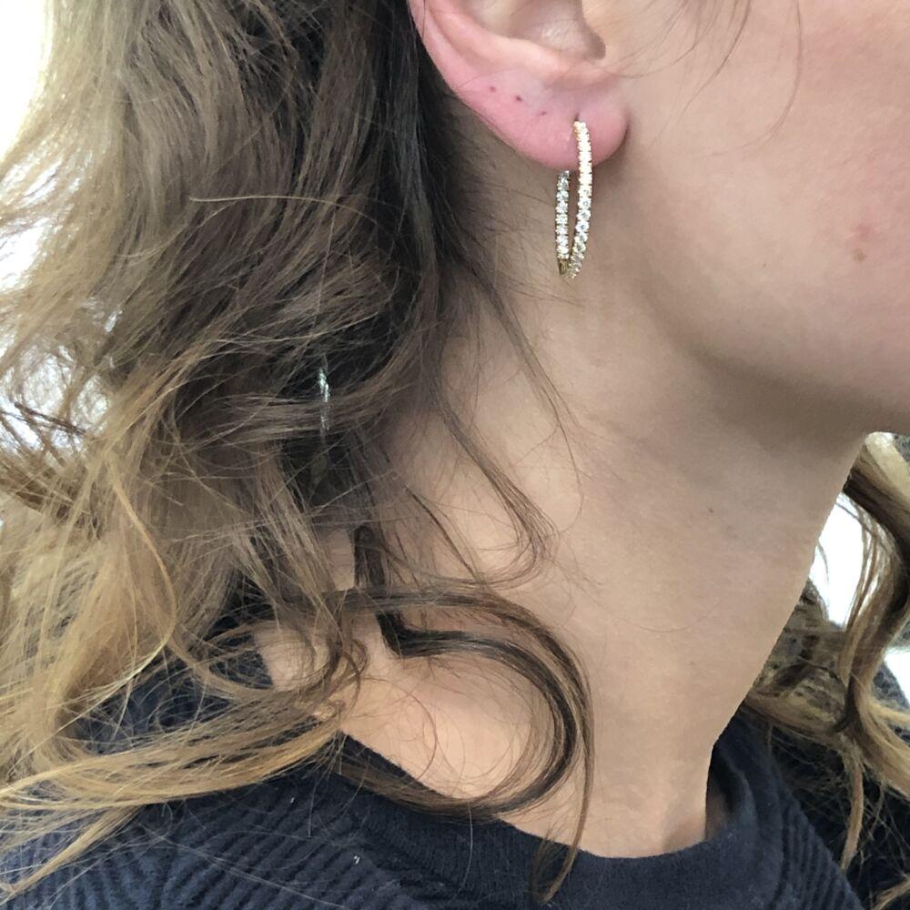 Image 2 for 18k Yellow Gold Diamond Hoop Earrings