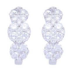 Closeup photo of 18k White Gold Circle Station Cluster Diamond Hoop Earrings
