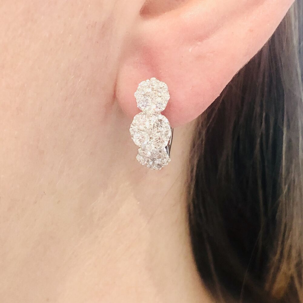 Image 2 for 18k White Gold Circle Station Cluster Diamond Hoop Earrings