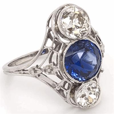 Closeup photo of Art Deco Sapphire & Diamond Ring