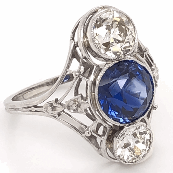 Closeup photo of Art Deco Sapphire & Diamond Ring