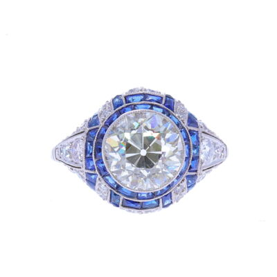 Closeup photo of 2.90ct Diamond Ring With French Cut Sapphire and Diamond Surround
