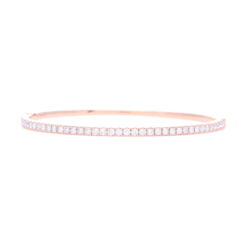 Closeup photo of  18k Rose Gold  Prong Set Diamond Hinged Bangle Bracelet