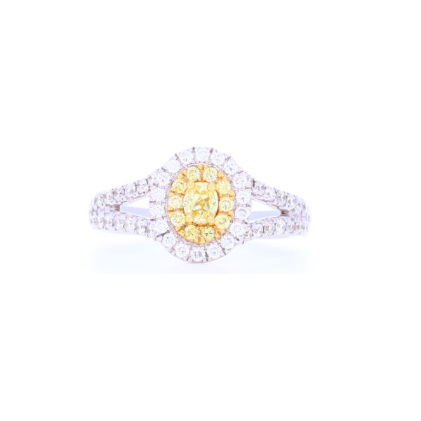 Closeup photo of  18k White Gold Round Diamond Halo Yellow Diamond Cluster Ring
