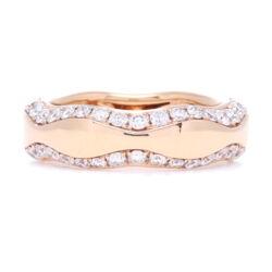 Closeup photo of 18k Rose Gold Wave Diamond Ring