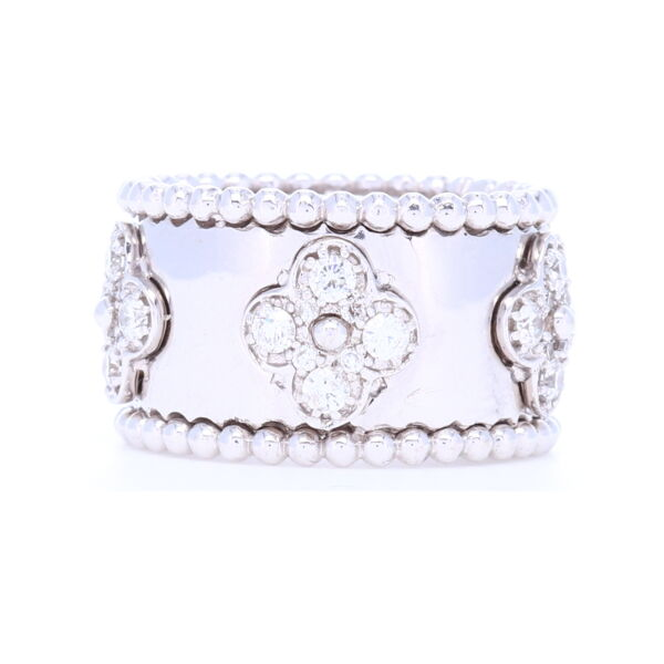 Closeup photo of 18k White Gold Diamond Clover Motif Cage Ring