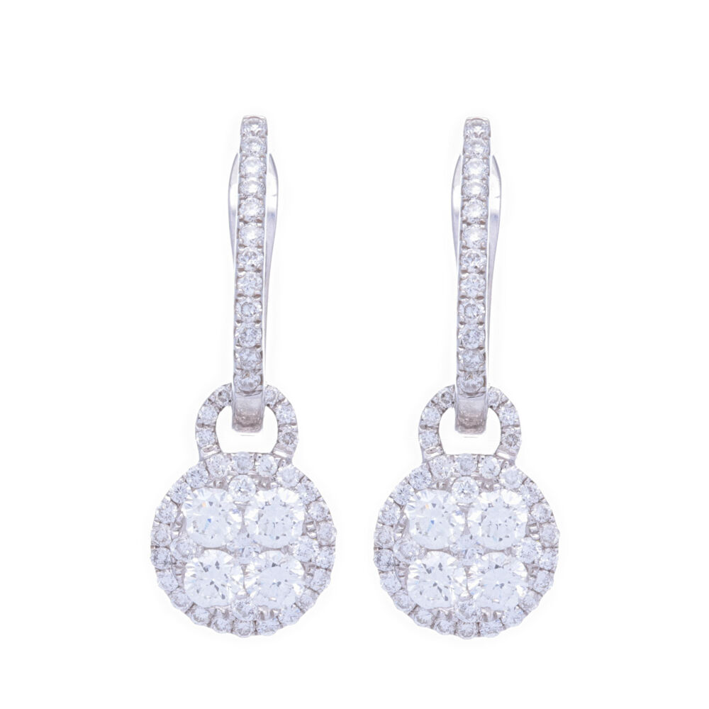Diamond Cluster Dangle Earring Charms and Hoops