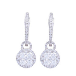 Closeup photo of Diamond Cluster Dangle Earring Charms and Hoops