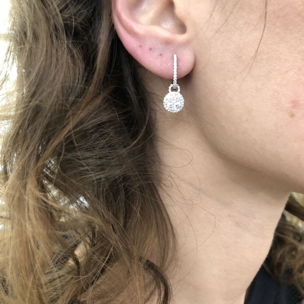 Image 2 for Diamond Cluster Dangle Earring Charms and Hoops