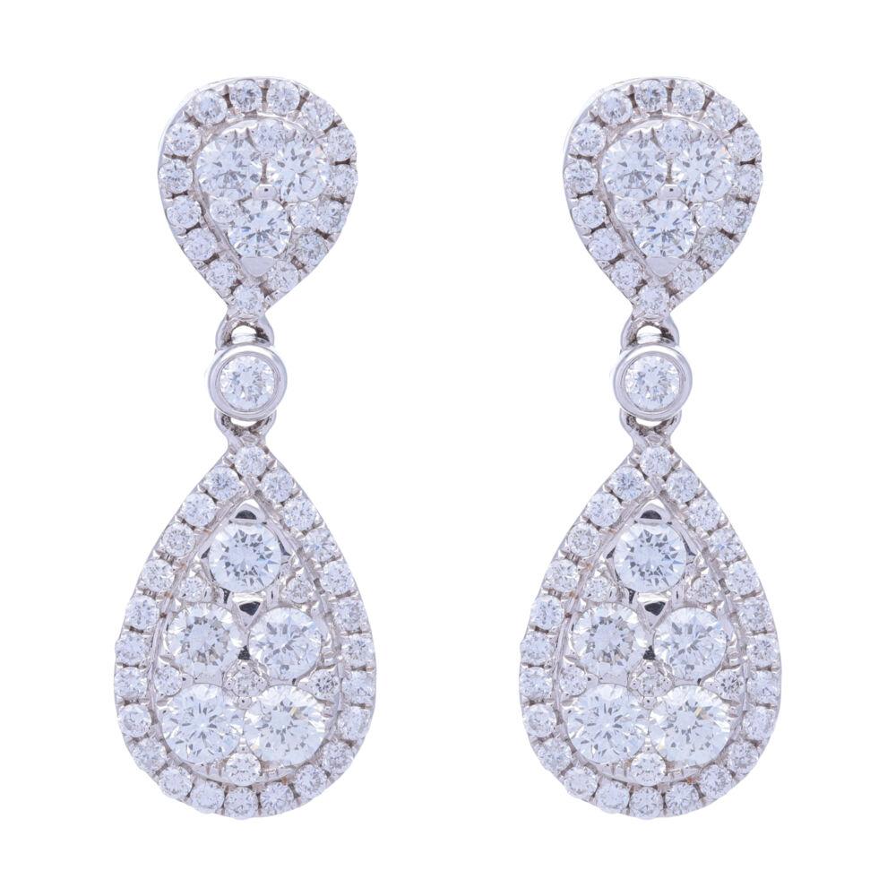 18k White Gold Pear Shaped Dangling Diamond Cluster Earrings
