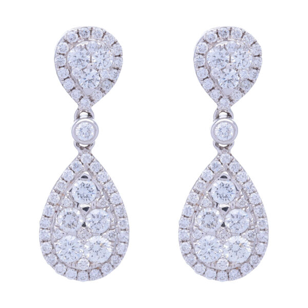 Closeup photo of 18k White Gold Pear Shaped Dangling Diamond Cluster Earrings