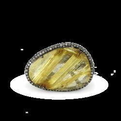 Closeup photo of Black Rhodium Gold Diamond Halo Rutilated Quartz Ring