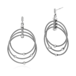 Closeup photo of Diamond Teardrops Three Cable Hoop Drop Cable Earrings