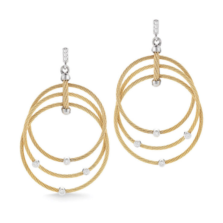 Image 2 for Diamond Teardrops Three Cable Hoop Drop Cable Earrings