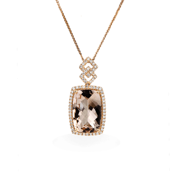 Closeup photo of 14k Rose Gold Elongated Morgan Pendant with Diamond Halo