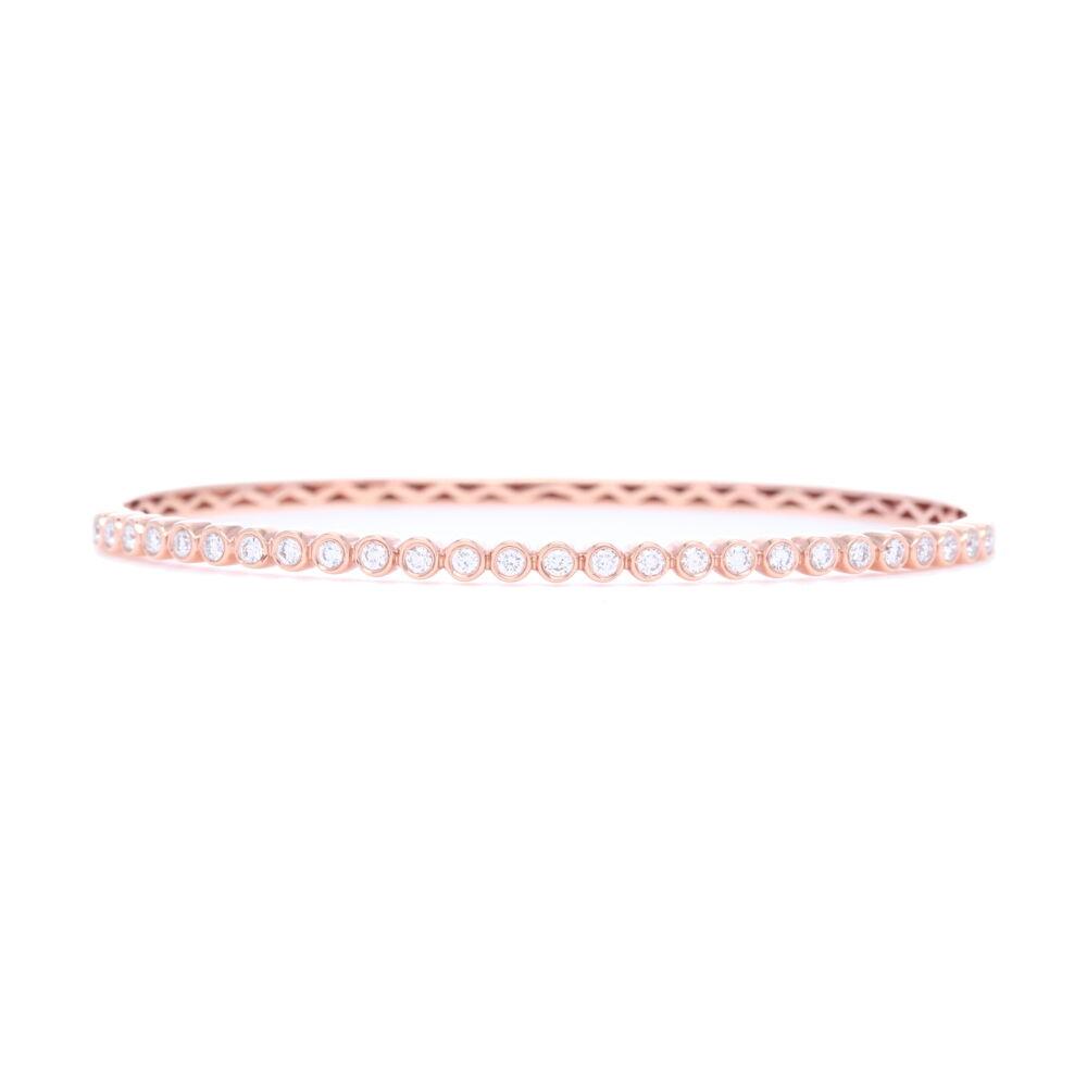 18k Rose Gold Diamond Bezel Set Bracelet