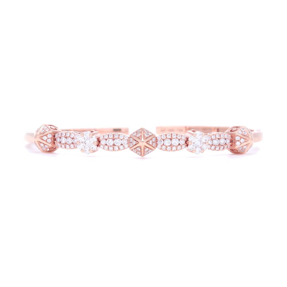 Image 2 for 18k Diamond Pyramid Flexible Bracelet