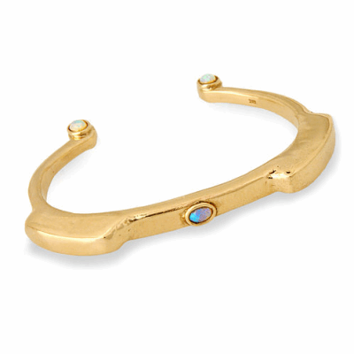 Closeup photo of 14k Primitive Bracelet with Opals