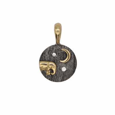 Elephant Baby and Moon Pendant - Silver